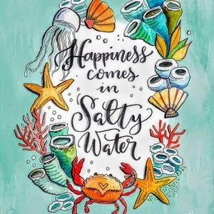 Pillow Cover- New- Happiness Comes in Salty Water